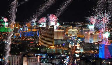 Яркие огни ночного Лас-Вегаса