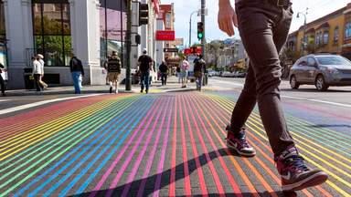 Цветная пешеходная дорожка в Сан-Франциско
