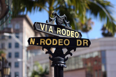 Указатель на шоппинг - улице Родео Драйв в Лос-Анджелесе