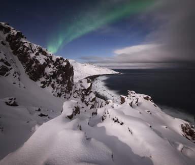 Северное сияние над Ледовитым океаном