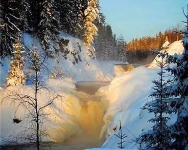 Водопад Кивач зимой не замерзает