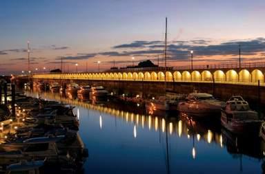 Jersey harbor at night