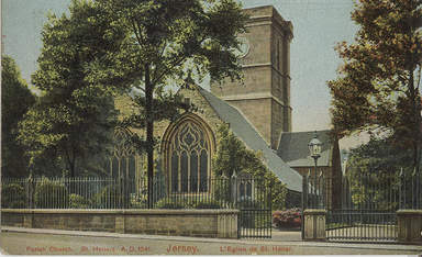 St Helier Parish Church Jersey from an old postcard