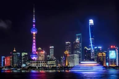 панорама небоскребов Шанхая