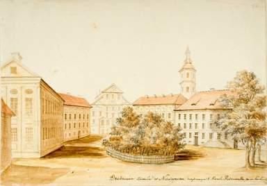 Несвижский замок на рисунке середины 19 века