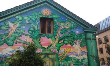 Кристиания роспись на стене дома