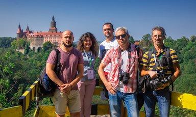 фото на смотровой площадке с журналистами в путешествии по замкам Силезии, я в роли переводчика