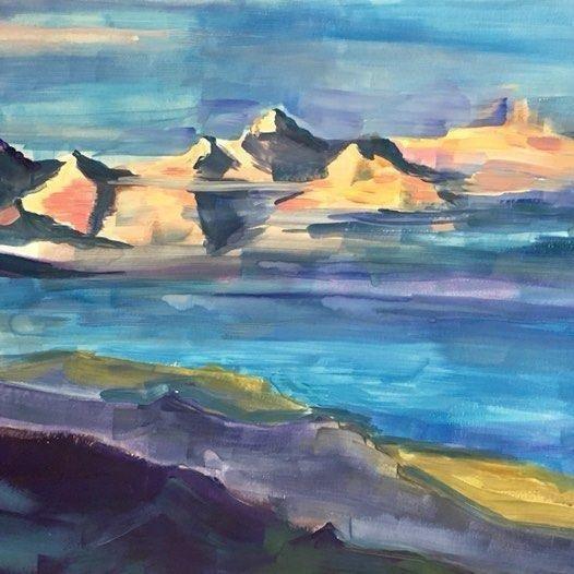 Горы Рериха на акварельной бумаге
