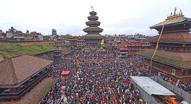 Gaijatra in Bhaktapur in Kathmandu Valley