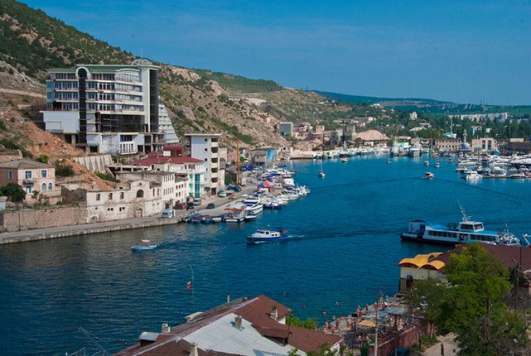 Бухта города Балаклава в Крыму, в России