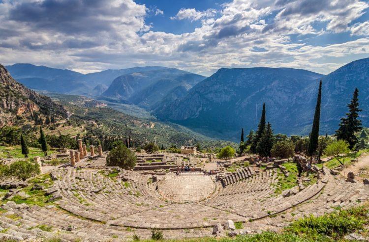 Древнегреческий город Дельфы в Греции