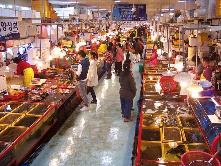 Рыбный рынок Чагальчхи в Южной Корее
